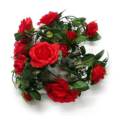 Yr.seasons Silk Artificial Flowers Rose Garland for Wedding Flower Arch Home Garden Decor (Dark Red)