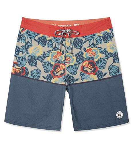 SURF CUZ Men's Vintage Cruzer Stretch Boardshort Chino Shorts (Poppy Floral - Orange, 30) (Floral Boardshorts)