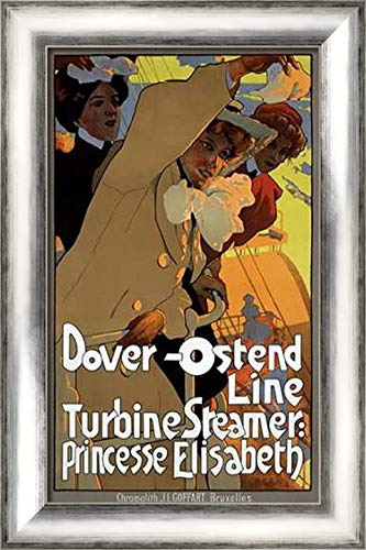Dover-Ostend Line 17x24 Silver Contemporary Wood Framed Canvas Art by Hohenstein, Adolfo