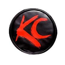 "KC HiLiTES 5110 6"" Round Black Vinyl Light Cover w/ Red KC Logo - Set of 2"
