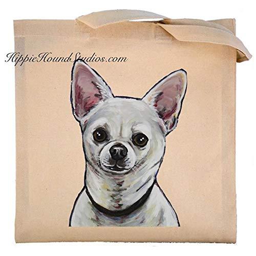 (White Chihuahua, Long Hair Chihuahua Tote Bag, Zippered Canvas)