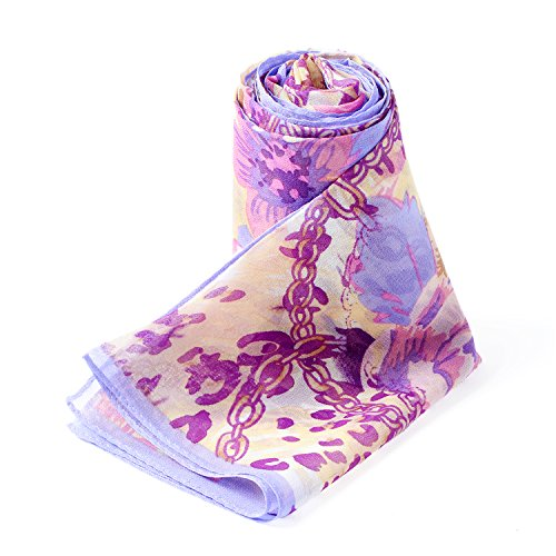 Dormith 100% Mulberry Silk Painted Flowers Chiffon Long Large Scarf 68.921.6inchs (Purple)