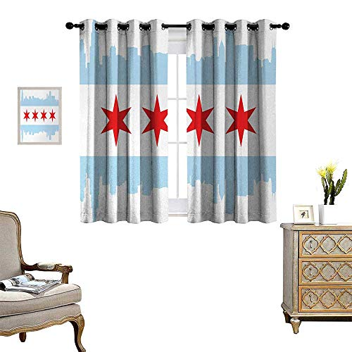 - Anyangeight Chicago Skyline Patterned Drape for Glass Door City of Chicago Flag with High Rise Buildings Scenery National Waterproof Window Curtain W55 x L45 Red White Baby Blue