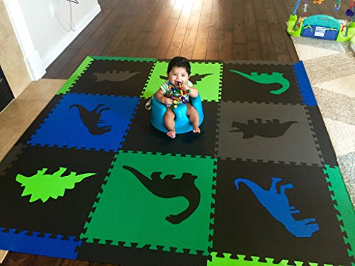 SoftTiles Children's Foam Playmat - Jurassic Dinosaur Theme - Non-Toxic Interlocking Floor Tiles for Toddler Playrooms/Baby Nursery - Black, Blue, Green, Lime, and Gray (6.5' x 6.5') SCDBGLG by SoftTiles (Image #3)