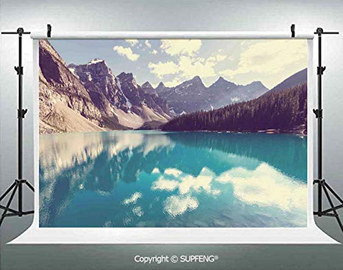 Photo Backdrop Moraine Lake in Banff National Park in Canada High Peaks and Trees Image 3D Backdrops for Interior Decoration Photo Studio Props -