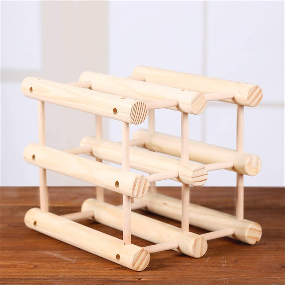 MiaoMiao Solid Wood Wine Rack Stackable Modular Storage Shelf Wooden Wine Rack, White Logb