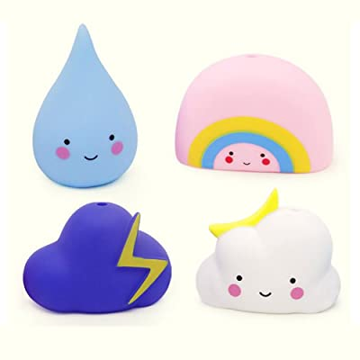 4 Pack Cute Bath Toys for Babys,Toddlers,Kids,Soft and Non-toxic Material,Baby Hair Wash Tools(Cloud,Rainbow,Raindrop,Thunder cloud)