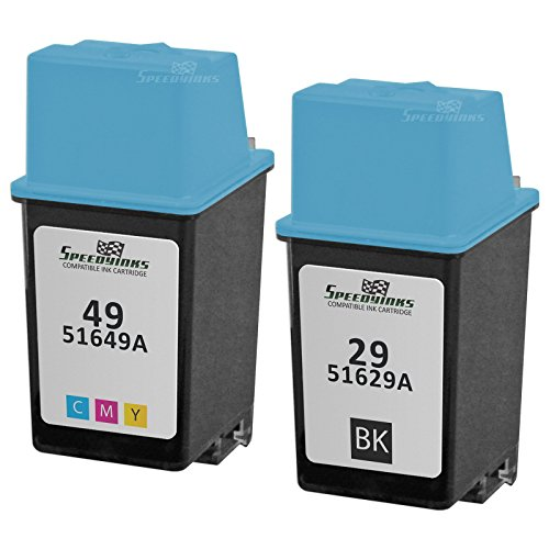 Speedy Inks - 2PK Remanufactured Replacement Ink Cartridge Set for HP29 51629A Black, 51649A HP 49 Tri-Color