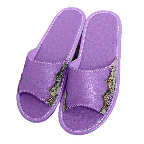 TELLW de Anti Zapatillas de Masculina de Pisos de Mujeres maloliente de Piel Interior de Cuero Vaca de Moradas Verano Madera Las Zapatillas par casa Antideslizante Mujeres de rRTwfr