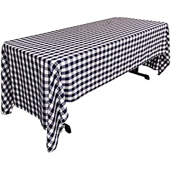 LA Linen Checkered Tablecloth, 60 By 120 Inch, Navy Blue