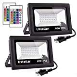 Cheap Ustellar 2 Pack 60W RGB LED Flood Lights, Outdoor Color Changing Floodlight with Remote Control, IP66 Waterproof 16 Colors 4 Modes Dimmable Wall Washer Light, Stage Lighting with US 3-Plug
