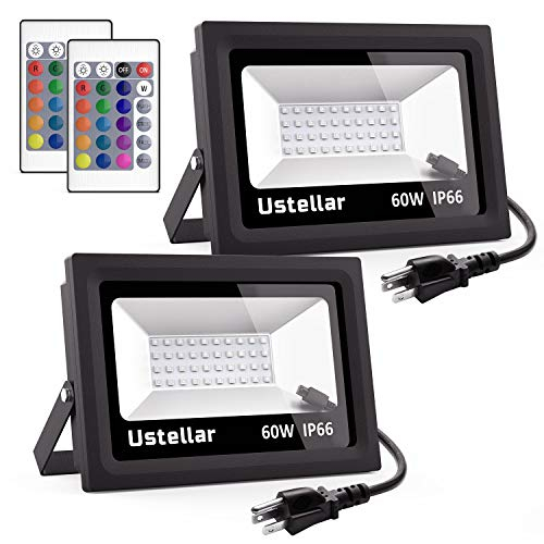 Light Washer Wall 1 (Ustellar 2 Pack 60W RGB LED Flood Lights, Outdoor Color Changing Floodlight with Remote Control, IP66 Waterproof 16 Colors 4 Modes Dimmable Wall Washer Light, Stage Lighting with US 3-Plug)