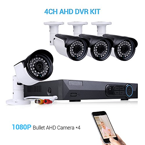 4 Channel 1080P AHD Home Security Camera System Video Surveillance DVR Recorder W/ 4x HD 2.0MP Waterproof Night Vision Indoor Outdoor CCTV Camera Free App Remote Access by Masione
