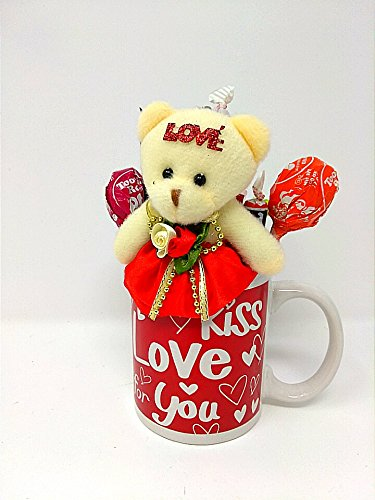 Valentine's Day Gift Set for Her (1) Happy Valentine's Day Cup (1) Teddy Bear (1) Assorted Candy RED