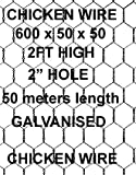 50 meters of Chicken Wire 600x50x50mt. Wire netting 2FT High