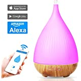 300ml Smart WI-FI Essential Oil Diffuser ,Works with Alexa ,APP Control By IOS/Android Phone,Wooden Grain Ultrasonic Cool Mist Aroma Humidifier for Bedroom(White)
