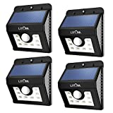 Litom Bright 8LED Solar Power Lights 3Mode Outdoor Solar Motion Light for Path Garden Lighting-4Pack