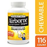 Airborne Citrus Chewable Tablets, Vitamin C Immune Support Supplement, 1000mg, 116 Count