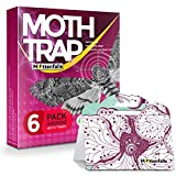 Mottenfalle Clothes Moth Traps 6-Pack - Prime Safe Non-Toxic Eco-Friendly Moth Traps with Pheromones Sticky Adhesive Tool for Wool Clothes Closet Carpet - Pesticides & Insecticides Free