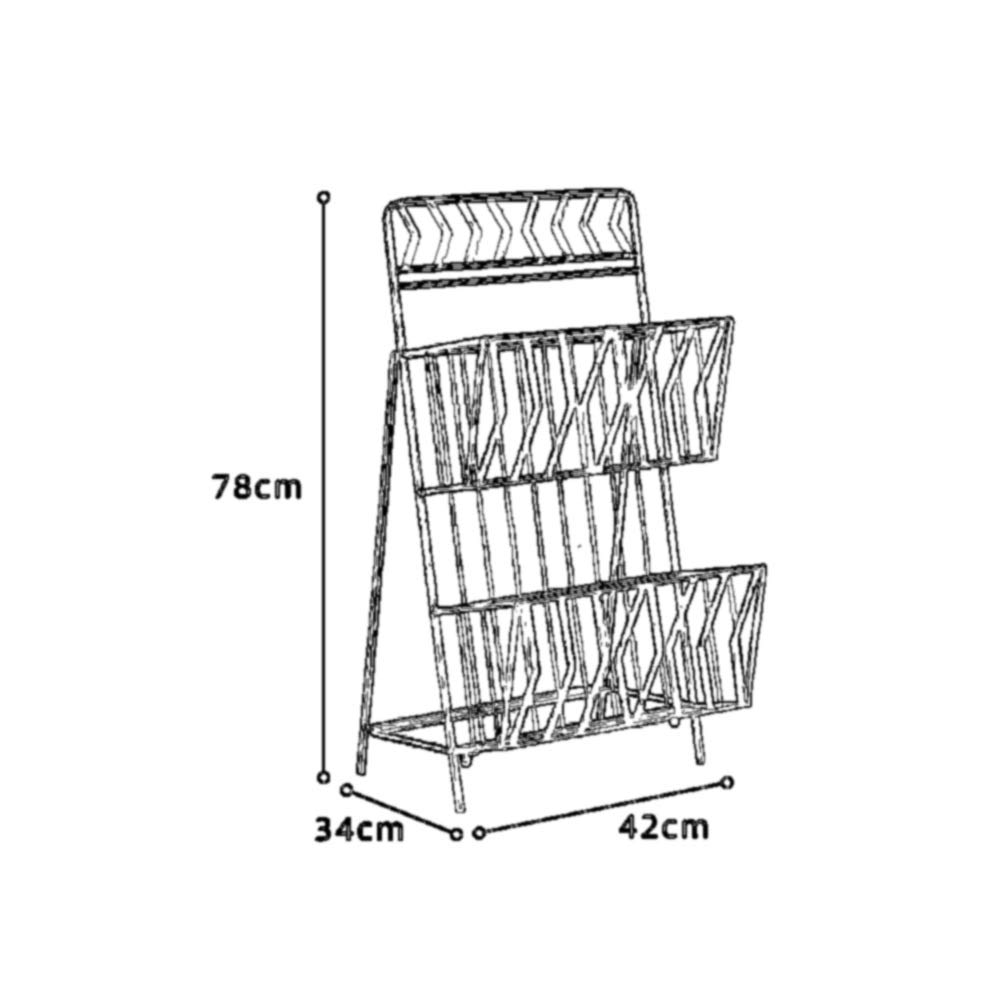 Rack Magazine Newspaper Rack Floor Data Propaganda Rack/Display Storage Rack Metal Simple Book Rack Yixin (Color : A, Size : 423478cm)