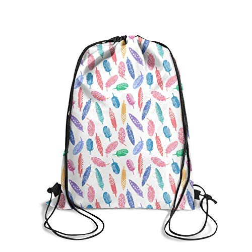 ZKGOD Colorful Feathers Stars Rainbow Best Classic Convenient Drawstring Backpack for Hiking Yoga Gym Travel Beach School