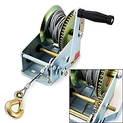 Generic YC-US2-151007-111 <8&1890*1> r Winchh Hand Cran Winch Hand Heavy Duty 2500LB Crank Manual Boat Hand RV Trailer Winch Heavy Duty