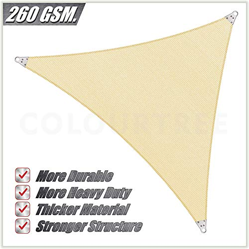 ColourTree Super Ring Customized Size Order to Make Right Triangle 12 x 15 x 19.2 Beige Sun Shade Sail Canopy Awning Shades for Patio – Commercial Heavy Duty – 260 GSM – 5 Years Warranty