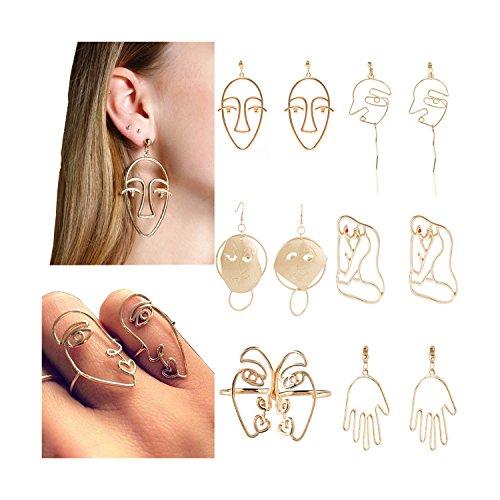 Mrotrida Women's Punk Vintage Abstract Art Metal Hollow Human Face Earrings Set 6 - Earrings Abstract