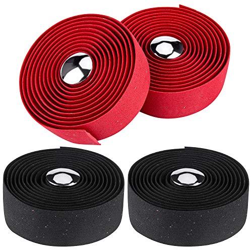 4 cintas para manubrio de bicicleta (2 negras/2 rojas)