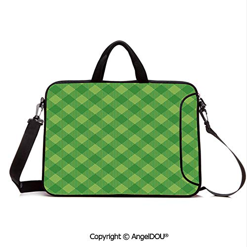 AngelDOU Neoprene Laptop Shoulder Bag Case Sleeve with Handle and Extra Pocket Retro Pattern in Vivid Green Cultural Fashionable Checkered Traditional Tile Compatible with MacBook/Ultrabook/HP/Acer/