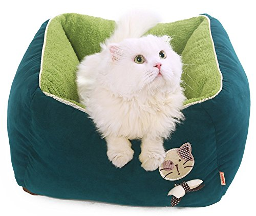 [New] PLS Birdsong Princess Plush Bolster Pet Bed, Green, Dog Bed, Cat Bed, Dog Beds for Small Dogs, Completely Removable and Washable Cover