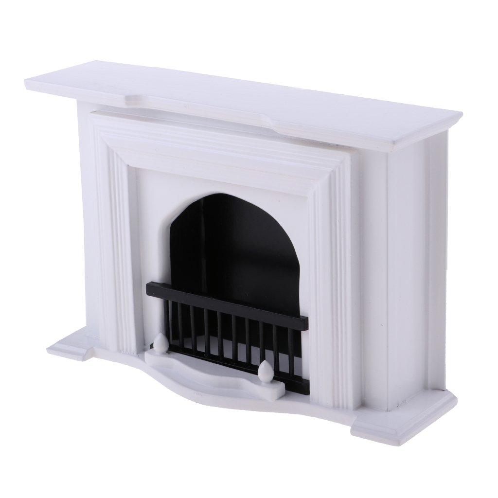 Baoblaze 1//12 European Style Wooden Fireplace Model for Dollhouse Sitting Room Furniture Kids Pretend Play