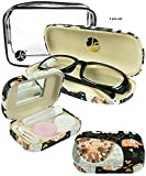 JAVOedge Cute Elephant Pattern Black Fabric Matching Eyeglass Case + Lens Kit Combo (Includes Free Cleaning Cloth)