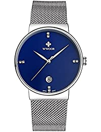 Mens Ultra Thin Mesh Band Stainless Steel Watches Male Elite Sports Date Wrist Watch Blue
