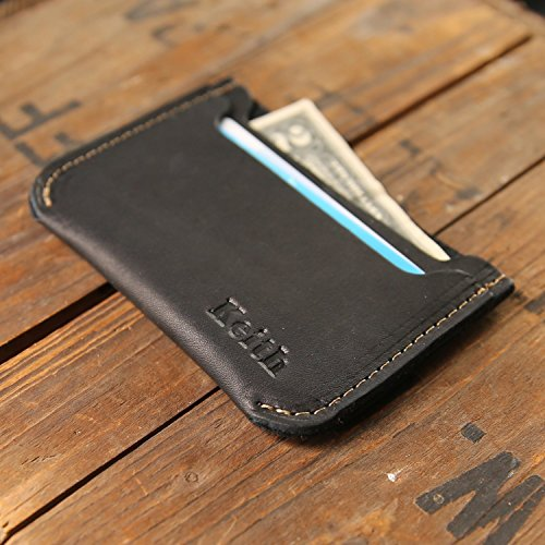 The Bradford Front Pocket Double Sleeve Fine Leather Wallet in Black