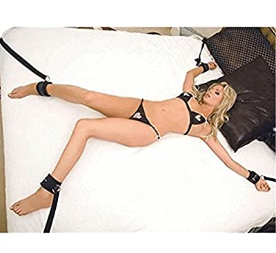 primerry BDSM S&M Sm (Cuff Bondage Straps Black Under Bed Restraint Fetish the Wrist and Ankle) womens set