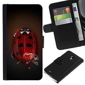 All Phone Most Case / Oferta Especial Cáscara Funda de cuero Monedero Cubierta de proteccion Caso / Wallet Case for Samsung Galaxy S4 Mini i9190 // Big Ladybug