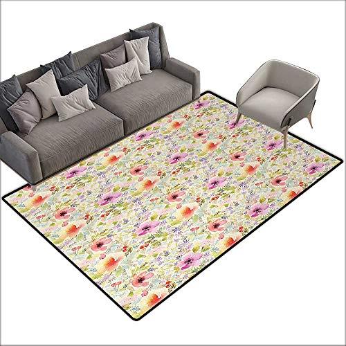 Bedroom Floor mat Flower Nostalgic Pastel Soft Colored Different Type Cute Floral Set Spring Hope Leaf Love Theme W70 xL94 Suitable for Bedroom, Living Room, Games Room, Foyer or Dining Room