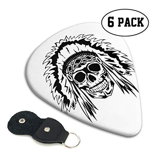 Skull Guitar Bag - Irene Merritt Guitar Picks- Aztec Skull Indian Native Guitar Picks With Leather Cases Bag £¨6 Pack£