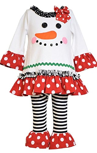 Bonnie Baby Baby-Girls Snowman Appliqued Knit Legging Set, -