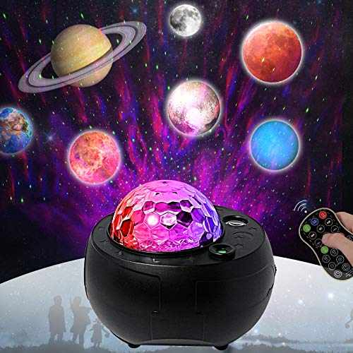 Galaxy Projector Light Music Nebula Star Projector Mutiple Planet Lights for LivingRoom Ceiling,Night Light Ambiance Bedroom,Valentines Day Decor,Home Planetarium (Black)