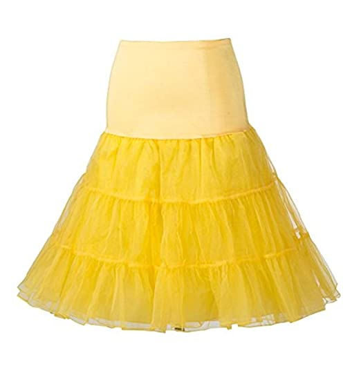 672d3d9af36b Women's 50's Retro Vintage Petticoat Tutu Underskirt Crinoline Yellow M at  Amazon Women's Clothing store: