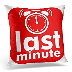 Emvency Throw Pillow Covers Chance Red Button Last Minute White Text Clock Alarm Buy Decorative Pillow Case Home Decor Square 20 x 20 Pillowcase