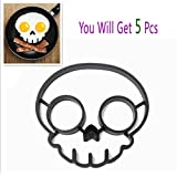 gneric PERSONALITY Funny Side Up Skull Silicone Egg Art Mould Halloween Breakfast Mold Frame