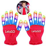 My-My Christmas Ideas for 5-12 Years Old Girls, Multicolor Glowing Flashing Light Up Gloves Toys for 3-10 Years Old Boys Girls Christmas Party Gift for Kids Red MMJSST04