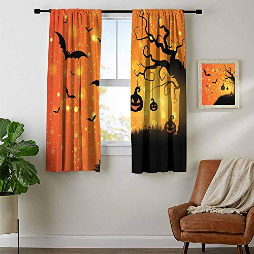 Mozenou Halloween, Party Curtains Decorations, Magical Fantastic Evil Night Icons Swirled Branches Haunted Forest Hill, Curtains for Doors with Windows, W72 x L72 Inch Orange Yellow Black]()