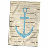 3D Rose Anchor with Glitter Image on White Wood twl_179106_1 Towel, 15'' x 22'', Multicolor