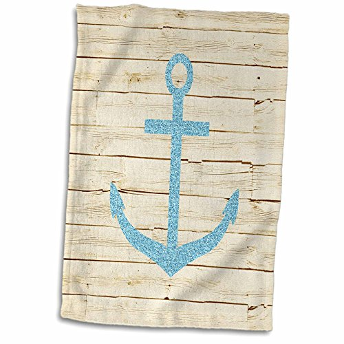 3dRose-PS-Beach-Anchor-with-glitter-image-on-White-Wood-Towel