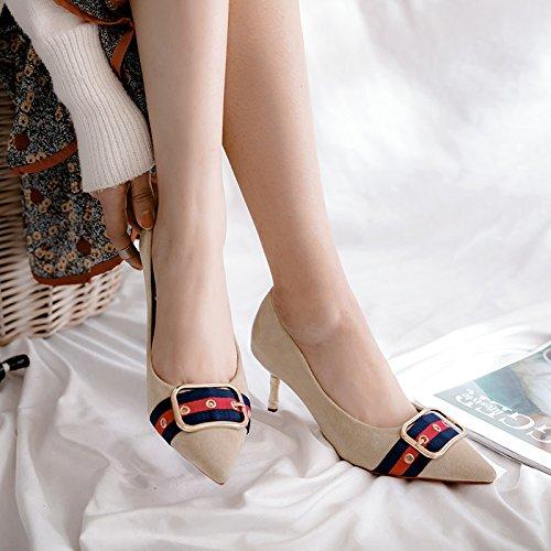 de y metal ligero Heel el al zapatos de beige Compacto zapatos 36 mujer adecuarlo con alta Shoes fin solo de punta elegante de HFw8xzd