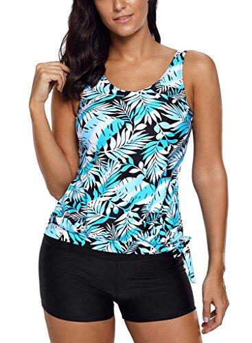 CoolooC Women's Blouson Bathing Suits Polka Dot Flowral Print Side Tie Tankini Swimsuits Boyshort Swimwear Plus Size